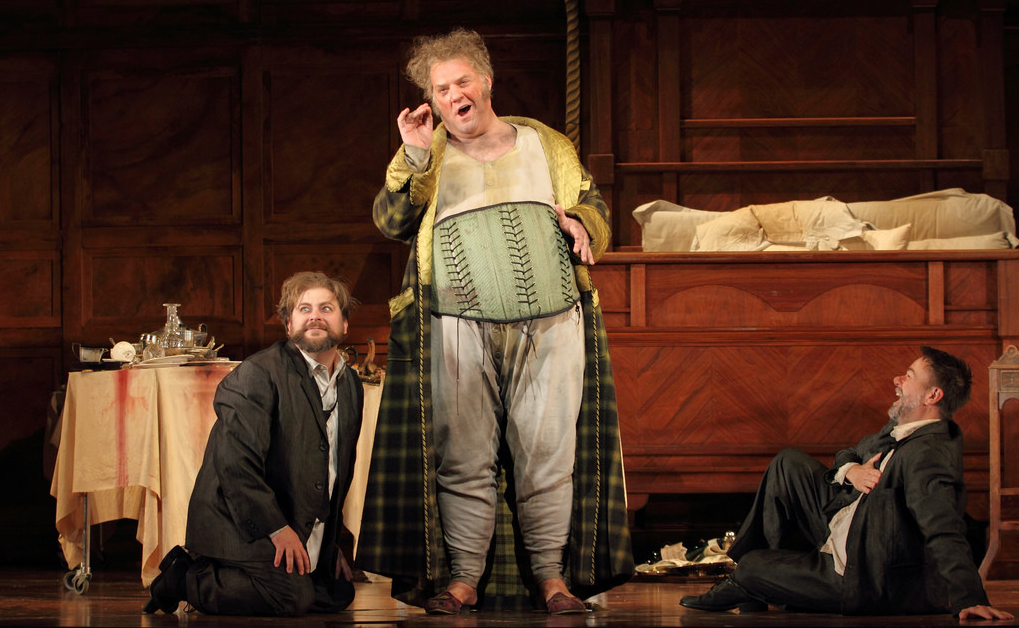 Craig Colclough as Pistol, Bryn Terfel as Sir John Falstaff and Michael Colvin as Bardolph in Falstaff, The Royal Opera © 2018 ROH. Photograph by Catherine Ashmore